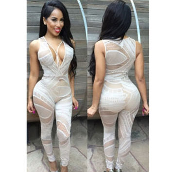 2015 Fashion Sexy women Jumpsuit White Black Lace Jumpsuits & Rompers Womens V-Neck Sheer Lace Club Catsuit macacao feminino