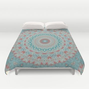 Tribal Medallion Teal Duvet Cover by ALLY COXON