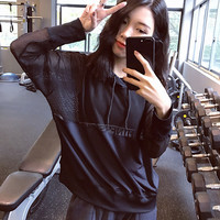 Summer Hollow Out Long Sleeve Gym Jogging Lace Sports Tops [11405552847]