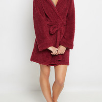 Burgundy Sherpa Hooded Robe