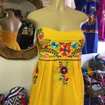 Strapless Mexican Dress Yellow