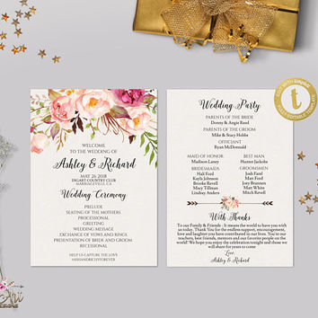 Best Wedding Ceremony Template Products On Wanelo - Floral wedding program templates