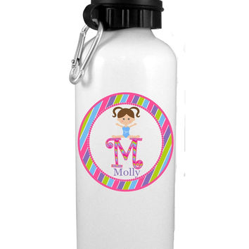 Girl Gymnast with Brown Hair Personalized Water Bottle