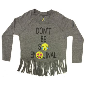 So Nikki Little Girl's Don't Be So Emoji-nal Fringe L/S Top