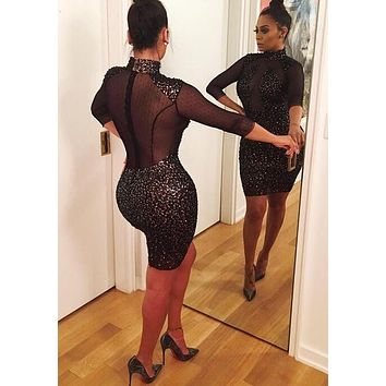 New Women Black Patchwork Sequin Grenadine High Neck Bodycon Club Party Mini Dress