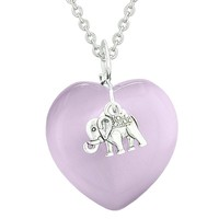 Lucky Elephant Charm Amulet Puffy Magic Powers Heart Purple Simulated Cats Eye Pendant 22 inch Necklace