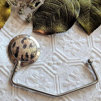 Purse Handbag Hook Hanger in Faux Leopard Fur
