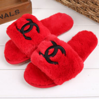 Chanel Fashion Casual Wool Women Sandal Slipper Shoes Red