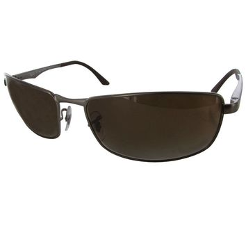 Ray Ban Mens RB3498 Polarized Rectangular Metal Sunglasses, Gunmetal/Brown
