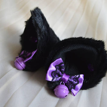 Kitten play clip on cat ears with ribbon bows - neko lolita cosplay costume - kitten play gear accessories - black and purple with bells