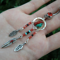 coral and turquoise dreamcatcher belly ring turquoise and RED