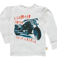 Charlie Rocket Little Boys' Motorcycle Tee in Cream (c)