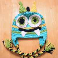Monster Hat, Baby Monster Hat, Crochet Monster cap for newborns and babies, Newborn monster hat, Newborn to 12 month sizes available