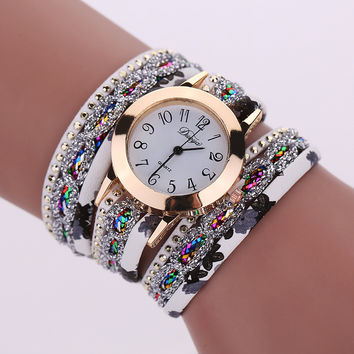 2016 Super Deal, Fashion Women's Watches Retro Bracelet Watch Synthetic Leather Quartz Watch Crystal Bling Dress Montre Relogio