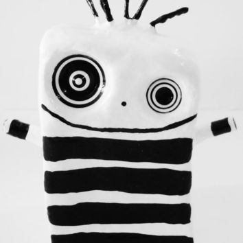 Abstract Sculpture OOAK Black and White Stripe Modern Art Clay Sculpture of Baby polkadotty Original Sculpture - FREE SHiPPiNG (Canada & US)