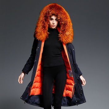 YOUMIGUE 2016 New Winter  Women Down Coat Jacket Warm High Quality Woman Down Parka Winter Coat with Silver Fox Fur Collar