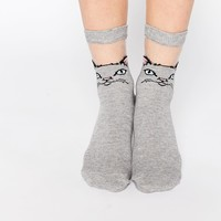 ASOS Cat Sheer Panel Ankle Socks at asos.com