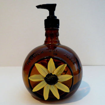 Soap Dispenser, Recycled bottle dispenser, Brown Tequila bottle, Lotion dispenser, Home decor