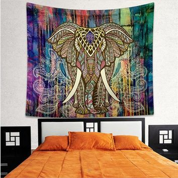 6 Styles Polyester Printed Elephant Tapestry Wall Hanging Indian Mandala Tapestry Wall Carpet Living Room Blanket Decoration