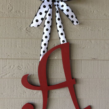 Initial Monogram Door Hanger Wreath Alabama Crimson Tide Roll Tide Home Decor Team Spirit