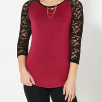 Burgandy Lace Sleeve Raglan | Long Sleeve | rue21