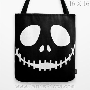 Jack Skellington Nightmare Before Christmas Graphic Print Tote Bag Movie Trick or Treat Halloween Black White Evil Grin Autumn Fall Face