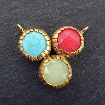 Trio Stone Pendant Connector - Turquoise stone, Red, Light Green Jade - 22K Matte Gold Plated No: 15