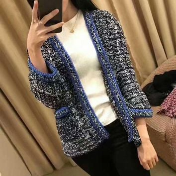 Autumn Winter Fashion All-match Knit Crochet Cardigan Jacket Coat Open Stitch Pocket Motley Mixed Color Women Wrap