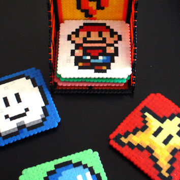 Set of 6 Super Mario Bros 3 Coasters with question by BeadxBead
