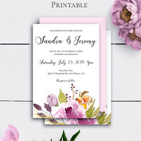 Bohemian Wedding Invitation, Personalized Wedding Template, Invitation Printable, Watercolor Flowers, Floral Invitations,On a Budget Wedding