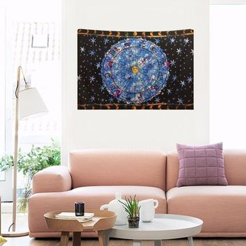 148*200cm Large Size Indian Astrology Pattern Printing Wall Hanging Blanket Tapestry Home Background Decoration Drop Shipping