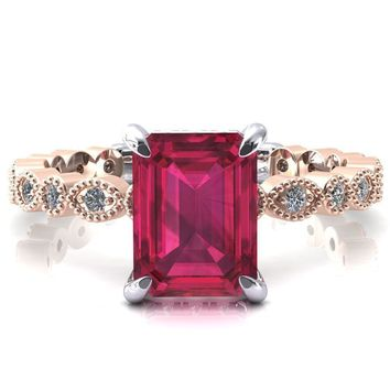 Lizette Emerald Ruby 4 Claw Prong 3/4 Eternity Milgrain Diamond Shank Engagement Ring