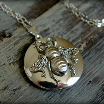 Queen Bee Locket Necklace in Silver