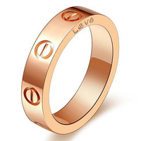 Rose Gold Plated Stainless Steel Screw Head Fashion Ring