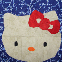 Hello Kitty Paper Piecing Pattern Quilt Block | Los Angeles Needlework
