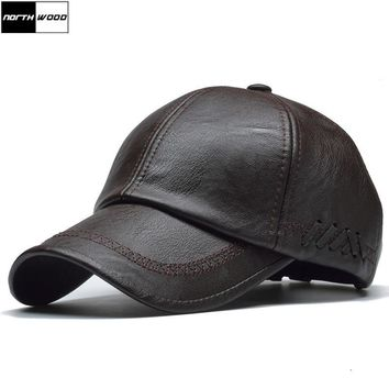 Trendy Winter Jacket [NORTHWOOD] High Quality Leather Cap for Men Solid Winter Pu Leather Baseball Caps Brand Snapback Hat Bone Masculino Fitted hats AT_92_12