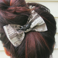 "The ""Bonjour"" Paris Themed Hair Bow , Clip on  - Mustache Bow"