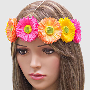 Festival Boho Daisy Head Chain Flower Crown Headband - Pink