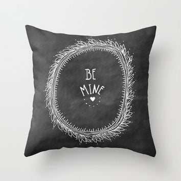 Valentine's Day Be Mine Home Decor Throw Pillow Cover, Illustrated Decorative Pillow Cover, Black and White Accent Pillow, Chalkboard Art