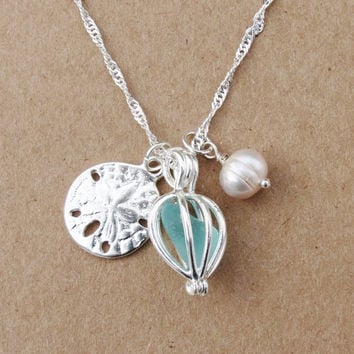 Sea Glass Sand Dollar Aqua Beach Glass Bridal Necklace With Cultured Pearl