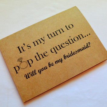 Will you be my bridesmaid cards POP THE QUESTION bridesmaid proposal cards maid of honor matron of honor wedding party kraft card funny card
