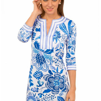 "Gretchen Scott ""Isabelle's Garden"" Split Neck Jersey Dress - Blue/White"