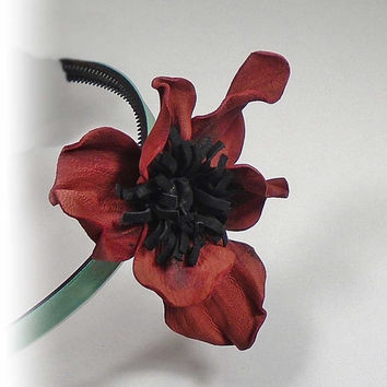 Leather Flower, Flower Brooch, bridesmaid flower, ornament hair, brooch for clothing, necklace lilium, leather adornment, hanmade decoration