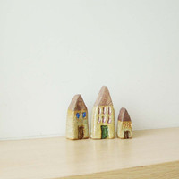 Ceramic rustic cottages, Greek ceramic houses miniatures, set of three, black stoneware clay