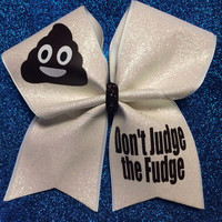 Don't Judge The Fudge Poop Emoji Cheer Bow