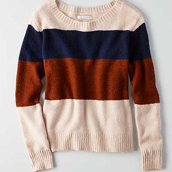 AEO Striped Crew Sweater, Pink