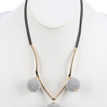 Sliver Color Cord Wrapped Chunky Ball Charm Bib Necklace