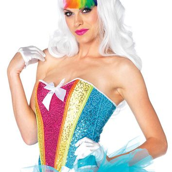Leg Avenue Female Rainbow Sequin Corset With Support Boning 2669