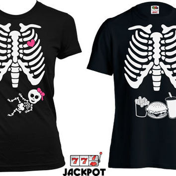 Matching Halloween Couple Shirts Pregnancy Halloween Costume Maternity Skeleton T Shirt Baby Girl Skeleton Pregnancy Shirt Ladies MD-529A566