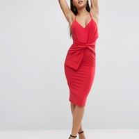 ASOS Big Bow Front Midi Bodycon Dress at asos.com